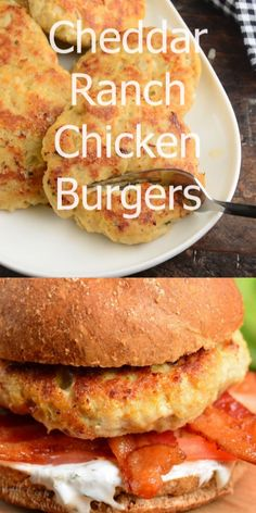Juicy chicken burgers made with ground chicken and flavored with Ranch seasoning mix and cheddar cheese right in the burger This recipe only takes about 30 minutes to make chicken burgers sandwich groundchicken ranch Turkey Burger Recipes, Fun Sandwich Recipes, American Sandwich Recipes, Chicken Burger Patty Recipe, Grilled Sandwich Ideas, Stuffed Burger Recipes, Baked Turkey Burgers, Grilled Cheese Burger, Vegan Recipes