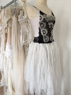 Victorian lace fairy tulle dress black and white by RAWRAGSbyPK
