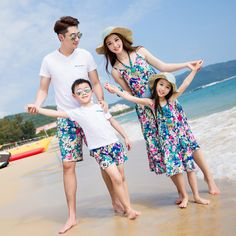 Floral Family Clothing Sleeveless Summer Beach Dresses for Mummy Daughter Son Dad T-shirt Short Family Matching Trip Dress 3XL