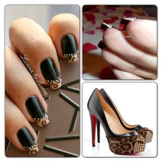 Louboutin inspired nail art with black, leopard & chain effect details finished off with the classic red underside...x