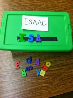 Learning to spell and letter recognition, magnetic strip on a box with different words