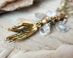 Guyan mudra necklace with Indian silver amulets  yoga by OmSaha