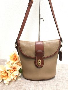 3d13b7363e05 Rare Vintage COACH SHERIDAN STEWART Bag Taupe Brown Pebbled Leather