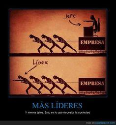 Diferencia entre jefe y líder #infografia