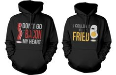 funny bacon and egg hoodie for couples