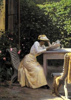 Schiottz-Jensen, Niels Frederik (b,1855)- Woman Reading Newspaper