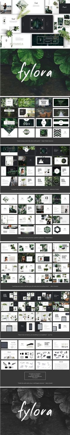 FYLORA - Powerpoint Template is Lookbook style Powerpoint Template with Minimal and Botanical Concept/Design. (food presentation template)