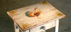 Rooster cricket table painted by artist at Ecustomfinishes. Cock-a-doodle-do!
