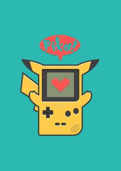 """GAME BOY CHU By Adrian Goh. """"The first handheld nintendo console I had was a yellow gameboy pocket. Needless to say, I spent most of my time playing Pokemon Yellow on it. Such good, good times."""" (via dotcore) Play Pokemon, Pokemon Fan, Pikachu Game, Pikachu Pokeball, Geeks, Kawaii, Poker, Star Wars, Poster"""