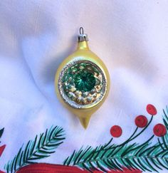Vintage Christmas Ornament Glass Tear Drop by OldStNicksAttic