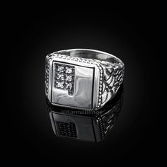 Sterling Silver Cubic Zirconia Shield Ring Sizes Available J,L,M,N