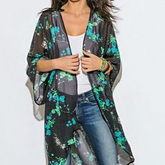 Teal/black floral sheer kimono ~~Teal green/black floral sheer kimono ~~size small, 32c,  ~~tho bc it's open can accommodate larger size like a medium, too  ~~100% polyester, hand wash ~~beautiful chiffon sheer  ~~made in USA, by Wenjie Wenjie Tops