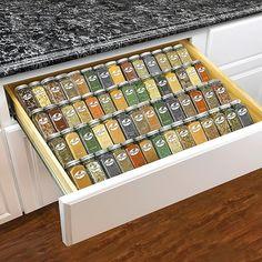 Kitchen Cabinet Drawers, Kitchen Drawer Organization, Spice Organization, Kitchen Spice Storage, Ikea Spice Jars, House Organization Ideas, Kitchen Drawer Inserts, Food Pantry Organizing, Organizing Drawers