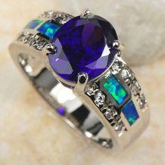 Amazing Amethyst/Blue Fire Opal Ring Size 6 SS