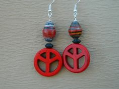 Red Peace Sign Earrings  and Paper Bead Accents - Fair Trade beads   Prettiuneek - Jewelry on ArtFire
