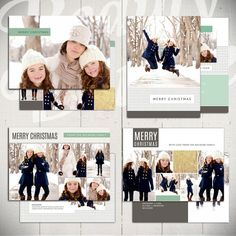 Christmas Card Templates: Bright White - Set of Four 5x7 Holiday Card Templates for Photographers by Beauty Divine Design on Etsy