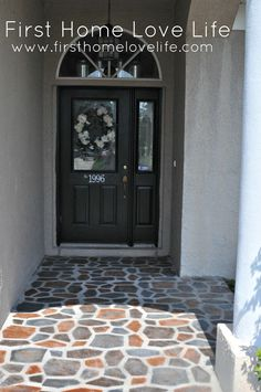 Spray Painted Patio. Use a concrete stepping stone mold as a stencil and spray…