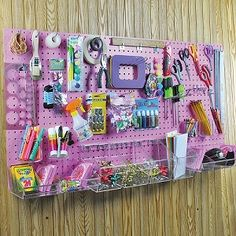 Who needs a drawer full of clutter when you can have a pegboard with successfully organized belongings? Check out this huge Pegboard Organizer Kit! Deco Surf, Pegboard Organization, Sewing Crafts, Diy Crafts, Craft Room Design, Craft Room Storage, Pegboard Craft Room, Paper Storage, Sewing Rooms