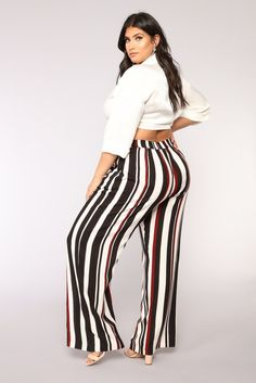 8e33cd1efcc plus-size Striped Pants