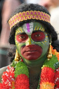 Dressed as a monkey and doing the part of Hanuman, this tribal dance performers was from Andra Pradesh.  Haryana, North India.