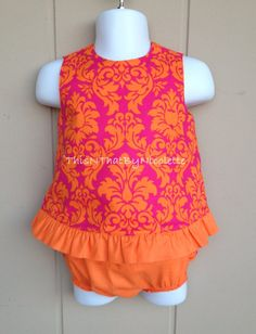 Pink and orange damask top with ruffled by ThisNThatByNicolette,