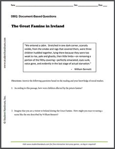 """""""The Great Famine in Ireland"""" by William Bennett - Free printable DBQ worksheet for high school World History."""