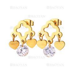pendientes de trebol dorado con corazon y cristal en acero inoxidable -SSEGG804448