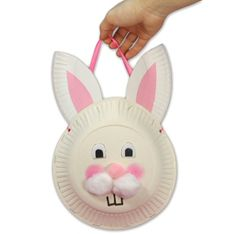 Fun Family Crafts - Paper Plate Easter Bunny Treat Bag What you'll need 3 paper plates Ribbon or string Stapler Hole punch Scissors Cotton balls, colored paper, markers or crayons, and other items to decorate the face