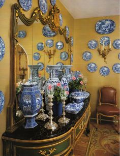 Beautiful collection of blue and white china in Joanna & Sidney Poitier's Beverly Hills Home