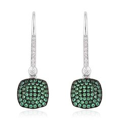 GREEN WHITE SIMULATED DIAMOND DROP DESIGNER STYLE PIERCED EARRINGS STERLING  #L2D #DROPEARRINGS