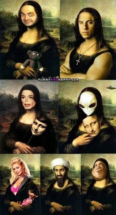 Different versions of Mona Lisa Crazy Funny Memes, Really Funny Memes, Stupid Funny Memes, Funny Relatable Memes, Haha Funny, Funny Cute, Crazy Humor, Funny Photos, Funny Images