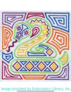 Stickmotiv Stickbild Aufnäher Stickerei Emblem Schlange  Schlange /  Stickerei Mola Snake Square (E8515)