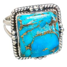 Blue Copper Composite Turquoise 925 Sterling Silver Ring Size 8.75 RING768847