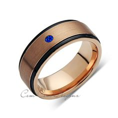 8mm,New,Blue Sapphire,Rose Brushed,Rose Gold,Black Grooves,Tungsten Ring,Mens Wedding Band,Comfort Fit