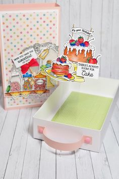Join Sam Calcott as she makes a slide and pop draw box using items from the Daisy Mae Bakery Collection! Pop Box, Craft Stash, Daisy Mae, Cardmaking And Papercraft, Cute Box, Engagement Cards, Pattern Paper, It's Your Birthday, Cute Gifts