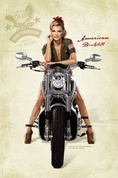 Marisa Miller on a V-rod Muscle Harley