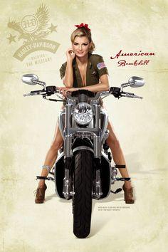Marisa Miller on a V-rod Muscle Harley