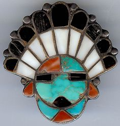 VINTAGE ZUNI INDIAN SILVER INLAID TURQUOISE ONYX CORAL SUN GOD FACE PIN