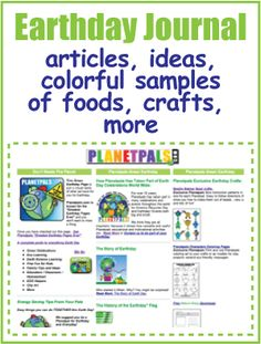 For #Earthday Journal--Ideas-Crafts-Foods-For all ages! #greenkids #greenmoms #greenteachers #greenfamilies