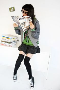 ulzzang fashion/Also looks like a great idea for Genderbent Loki: schoolgirl Loki??? :D