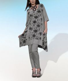 Gray & Black Floral Print Sidetail Tunic & Leggings Set - Women & Plus by Love The Queen on #zulily