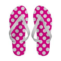 White Polka Dots Pink snaffle flip flops. This is a great product and lots of other you can make any color polka dot flip flops with a click of a button, just change the background. Also lots of other products you can do this same thin to.
