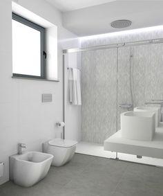 Baño diseñado por Fábrica de Arquitectura para una vivienda plurifamiliar en el centro de Sevilla. Tanto los materiales como los aparatos sanitarios son de la marca Porcelanosa. Bathtub, Bathroom, Gadgets, Sevilla, Centre, Architecture, Interiors, Standing Bath, Bath Room