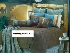 Amazon.com: Western Bedding Turquoise and Beige Mosaic 5 Piece Full: Home & Kitchen