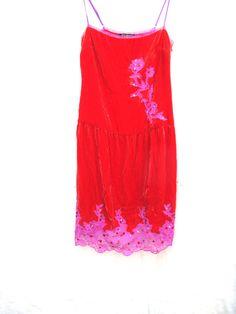 Vintage Dress Betsy Johnson Designer Dress Sequence Lace Dress Red Pink Velvet Dress Lacy Dress SZ 4