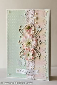 handmade card ... shabby chic styling ... pale pink and blue ... pearls and lace ... machine stitching ... die cuts and artificial flowers .... sweet and feminine ... luv it!!
