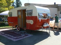 1955 ALJOA Trailer. Shiny red!