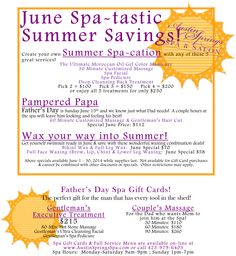 Take advantage of our June specials and save big! Spa Specials, Pedicure Spa, Salon Services, Summer Special, Facial Massage, Moroccan Oil, Body Wraps, Environment Design, Gel Color