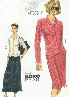 Koko Beall Vogue Sewing Pattern 7492 Womens Button by CloesCloset