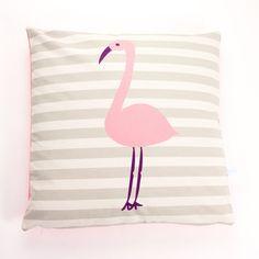 Printed Cotton Pink Flamingo Cushion